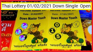 Thai Lottery 01/02/2021 Down Single Digit Open