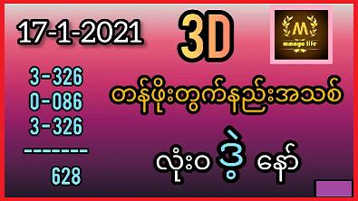Thai Lottery 3d Tips 17/01/2021