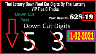 Thai Lottery Down Cut digits vip tricks 1-02-2021