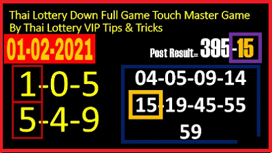 Thai Lottery Down Full Game Touch Master Game 1-02-2021