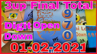 Thai Lottery Final Total 1-02-2564 3up Pair Total Down Open Digit