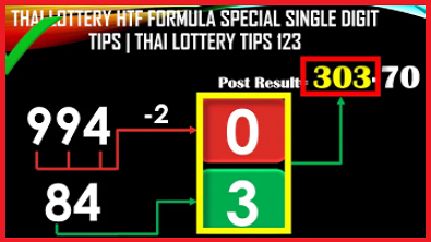 Thai Lottery HTF Formula Special Single Digit Tips 17-01-2021