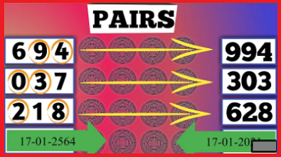 Thai lottery result today 3up Total pass Vip Pair set 17-1-2021