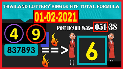 Thailand Lottery Single HTF Total Formula 1st February 2021