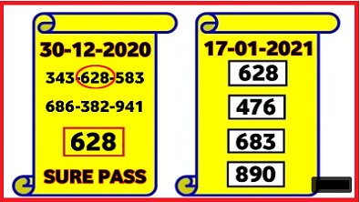 Thailand Lotto 3UP DIRECT 17-01-2021