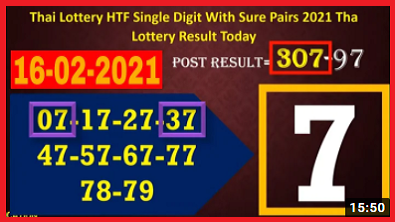 Thai Lottery HTF Single Digit With Sure Pairs 16-02-2021