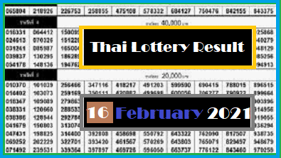 Thai Lottery Result 100% Winning Number 16 February 2021