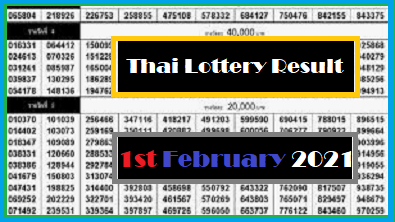 Thai Lottery Result 100% Winning Number 1 February 2021