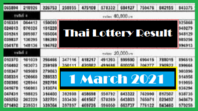 Government Thailand Lottery Results Period 1 March 2021