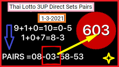 Thai Lotto 3UP Direct Sets Pairs 1-3-2021
