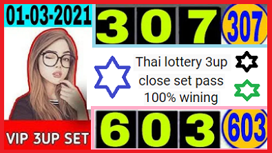 Thai lottery 3up Close direct set pass 100% work chance 1-3-2021