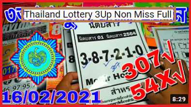 Thailand Lottery 3Up Non Miss Full Game Open 16-2-2021