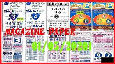 Thailand lottery magazine paper 1/3/2021 thai lottery 4pc paper