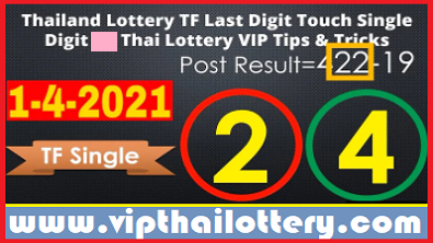 Thailand Lottery TF Last Digit Touch Single Digit 1-4-2021