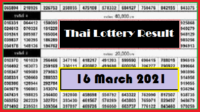 Government Thailand Lottery Results Period 16 March 2021