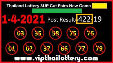 Thailand Lottery 3UP Cut Pairs New Game 1-4-2021