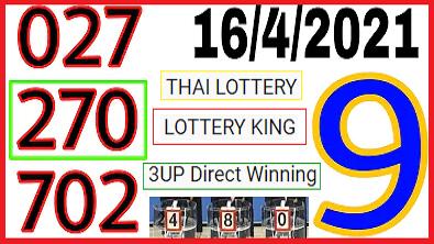 Thai lottery single pass trick 100% win formula 16-04-2021