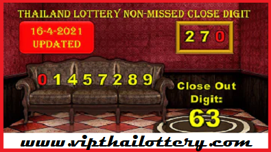 Thailand Lottery Down Non-missed Close Digit 16-4-2021
