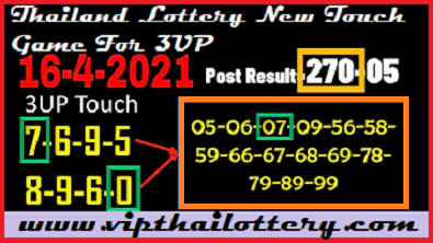 Thailand Lottery New Touch Game 3UP With Pairs 16-4-2021