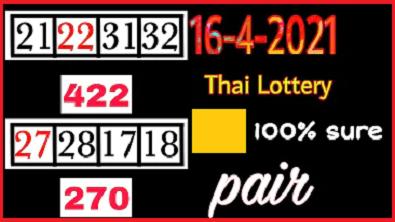 Thailand Lottery pair 270 Big Win Running Win 100% sure 16-4-2021