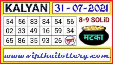 Satta Matka Kalyan Today open single vip jodi lock 31/07/2021