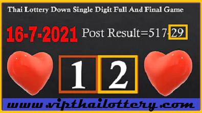 Thai Lottery Down Single Digit Full & Final Game VIP Tips Tricks 16/7/2564