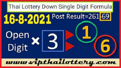 Thai Lottery Down Single Digit Formula Non-Miss 16-8-2021