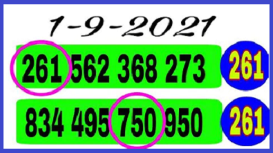 Thailand lottery 3up single set non miss paper 1st September 2564