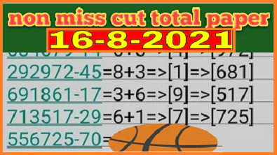 Thailand lottery non miss cut total and cut digit paper 16.8.2021