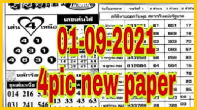 Thailand lotto first 4pic full paper 1st September 2564