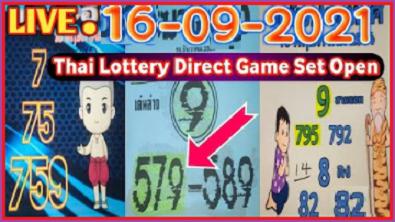 Thai Lottery Direct Game Set Open Live 16 September 2021