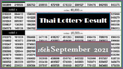Thai Lottery Result 16th September 2021