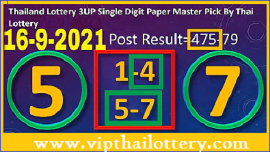 Thailand Lottery Rumble Single Digit Paper Master Pick 16-9-2021