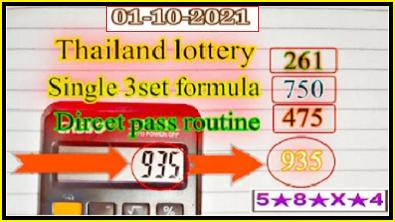Thailand Lottery Single 3set formula direct pass 01-10-2021